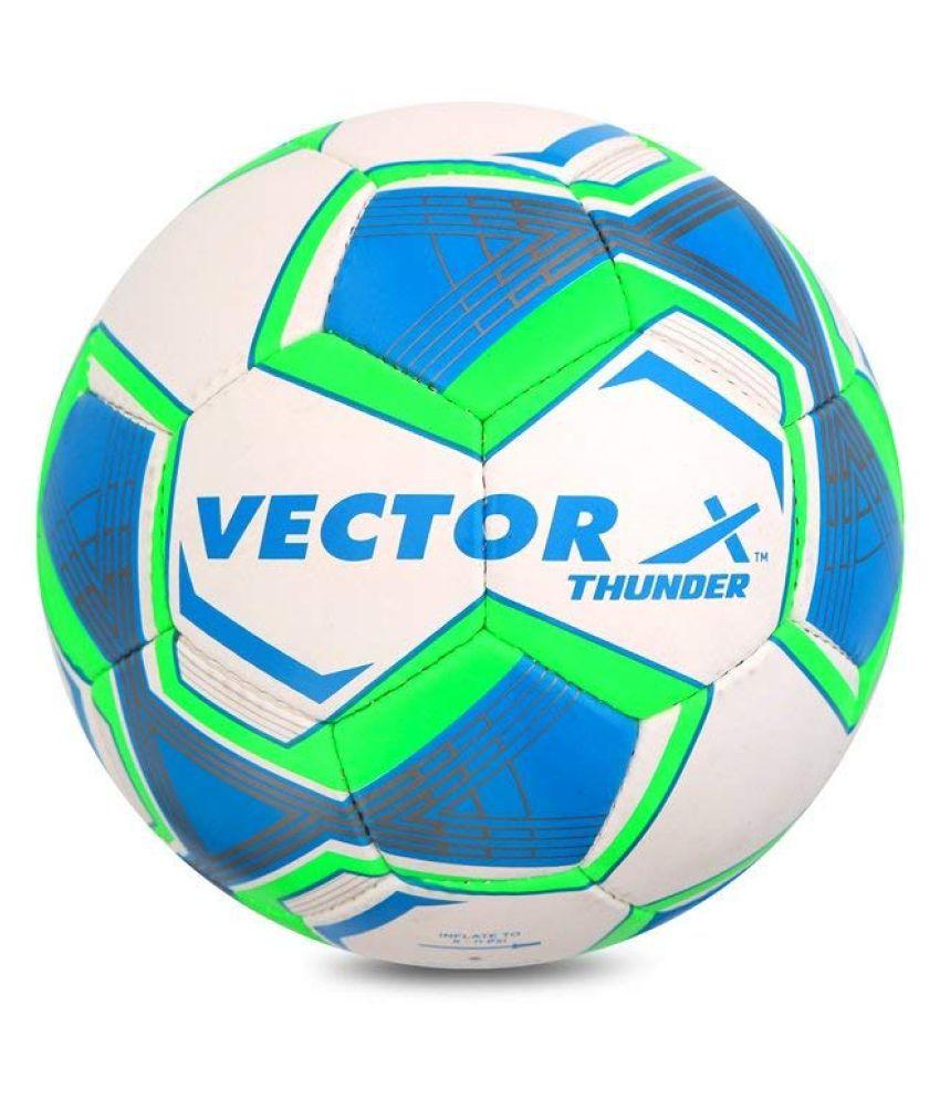 Vector X Thunder White-Blue-Green Football Size- 5