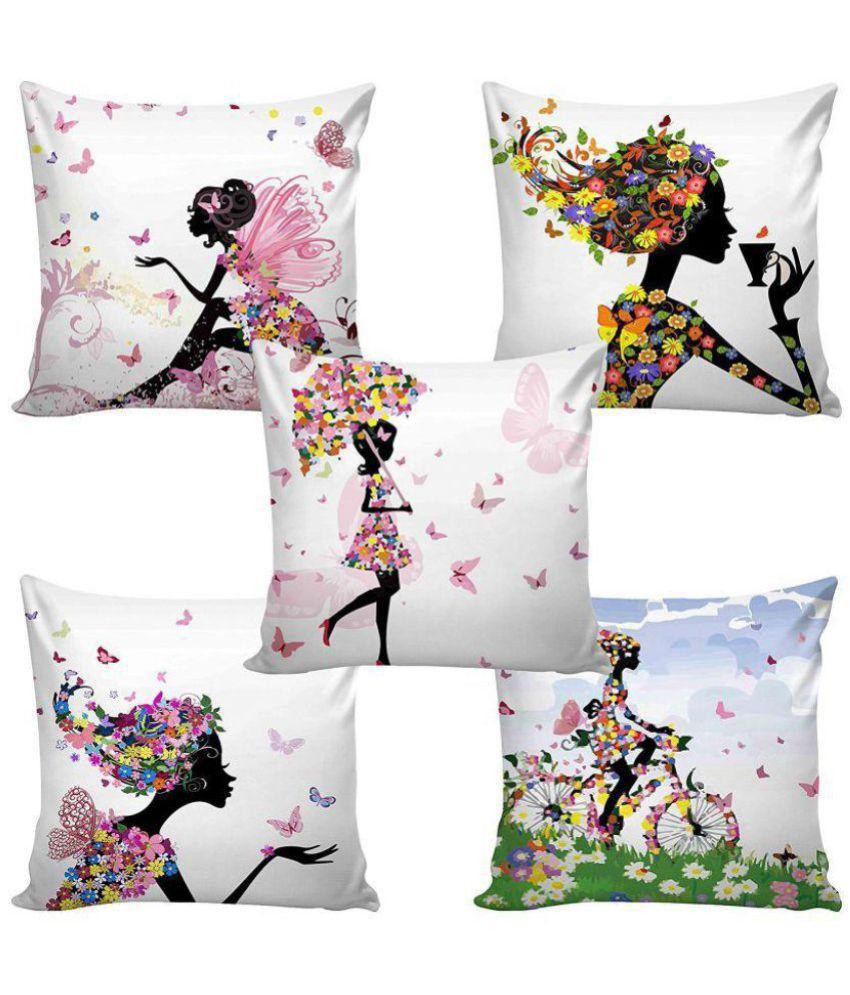 Swiss Fab Set of 5 Jute Cushion Covers 40X40 cm (16X16)