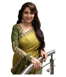 Krishi fab White Net Saree