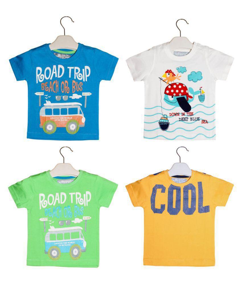Kothari Baby Boys Cotton Printed Tshirt Combo pack of 4