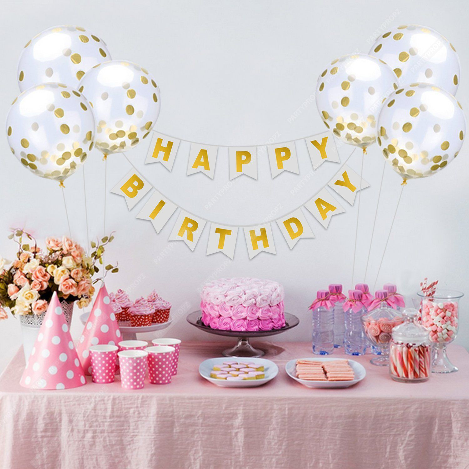 happy birthday banner 6 pieces gold confetti balloons party