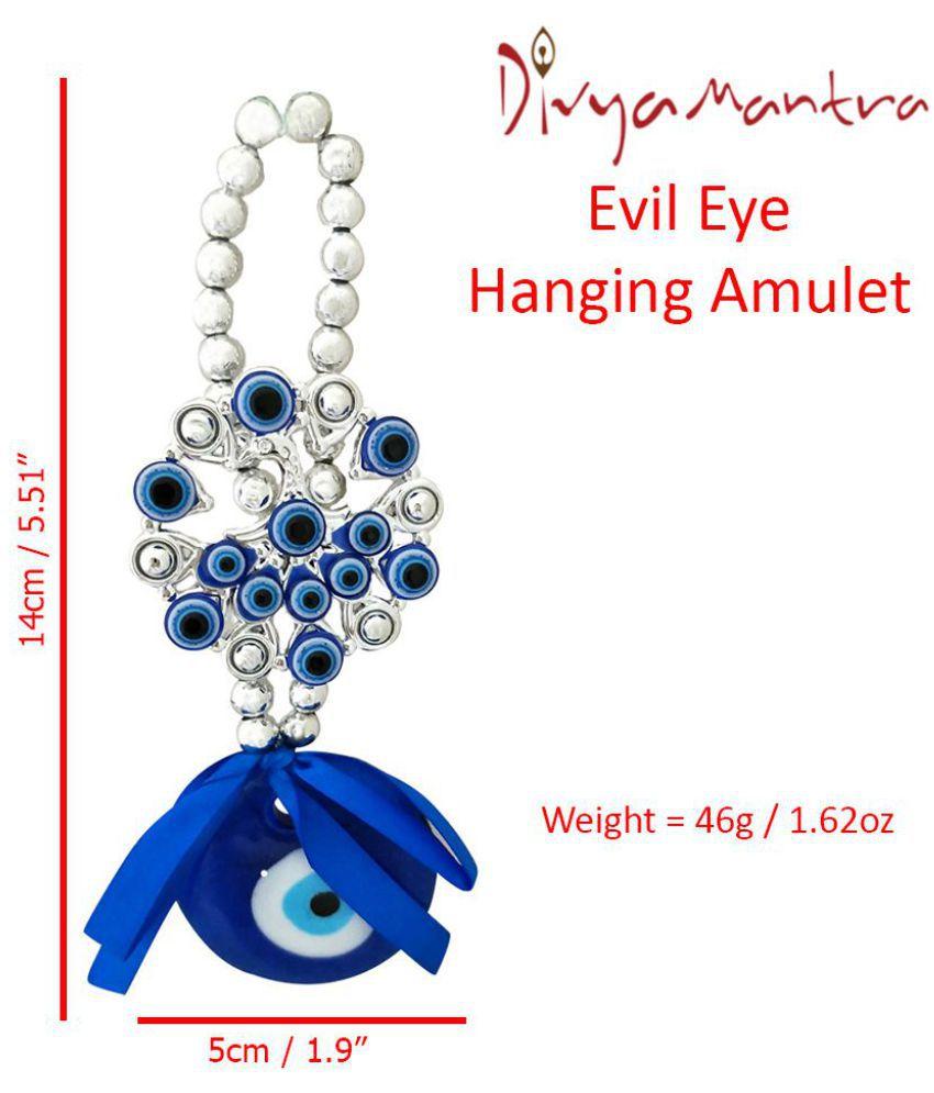 Divya mantra Flower Evil Eye Pendant Amulet for Car Door Hanging Blue -  Pack of 1