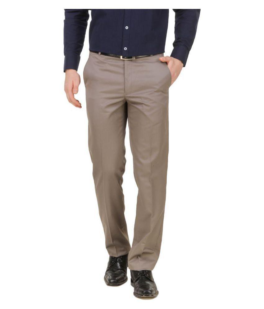 Lyos Beige Slim -Fit Flat Trousers