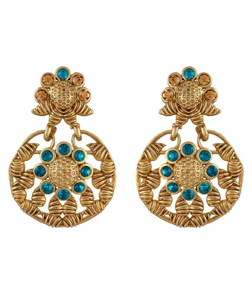 Sukai Jewels Aqua Stone Ethnic Gold Plated Zinc Casting Cz American Diamond Drop Earring for Women & Girls [SER126G]