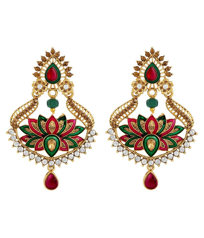 Sukai Jewels Multi Color Lotus Gold Plated Zinc Cz American Diamond Studded Drop Earring for Women & Girls [SER170G]
