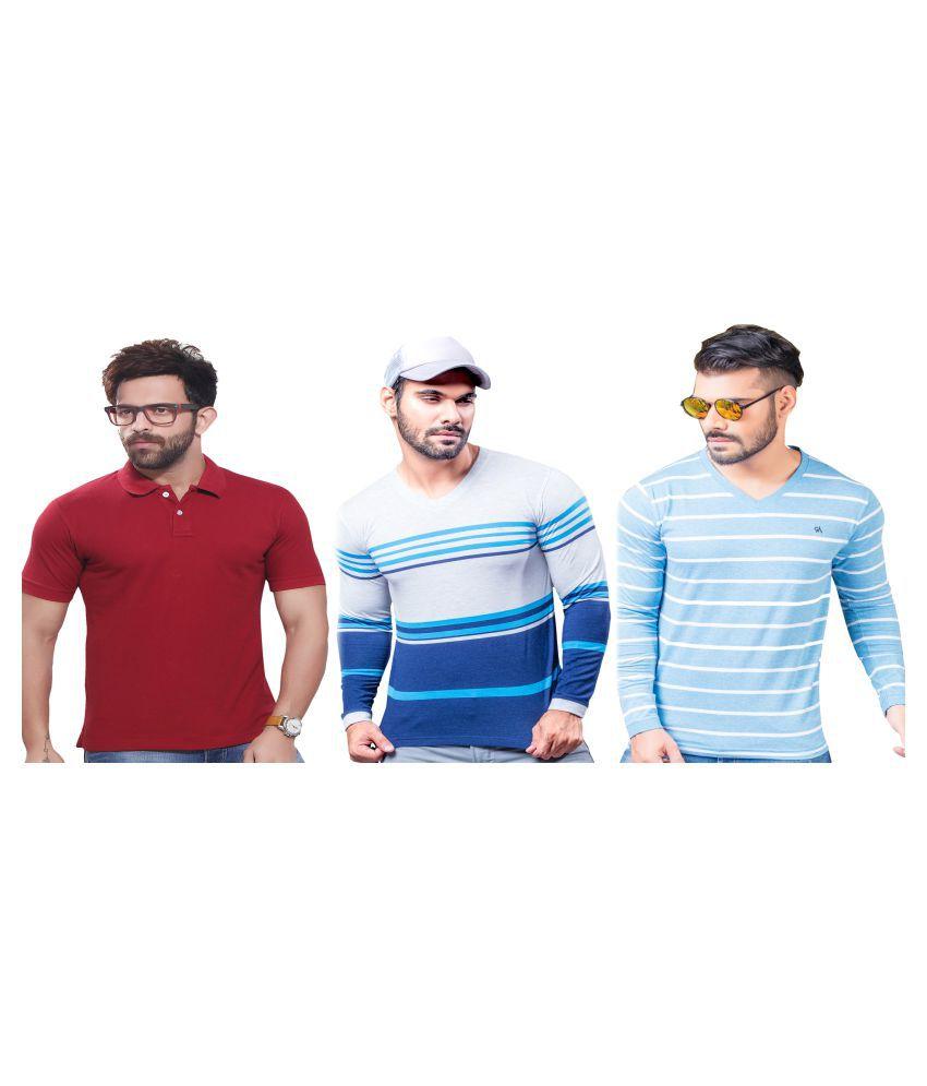 KUNDAN SULZ GWALIOR Multi Full Sleeve T-Shirt Pack of 3