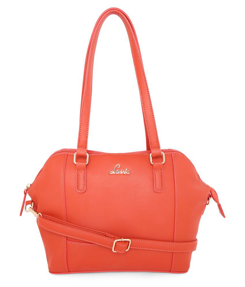 Lavie Orange Faux Leather Satchel Bag