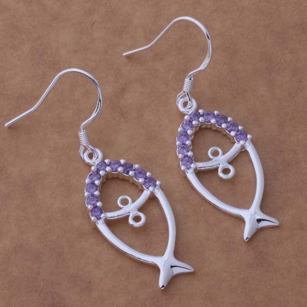 Kamalife Fashion Purple Fish Bling Bling Crystal 1 Pair Earings Jewellery