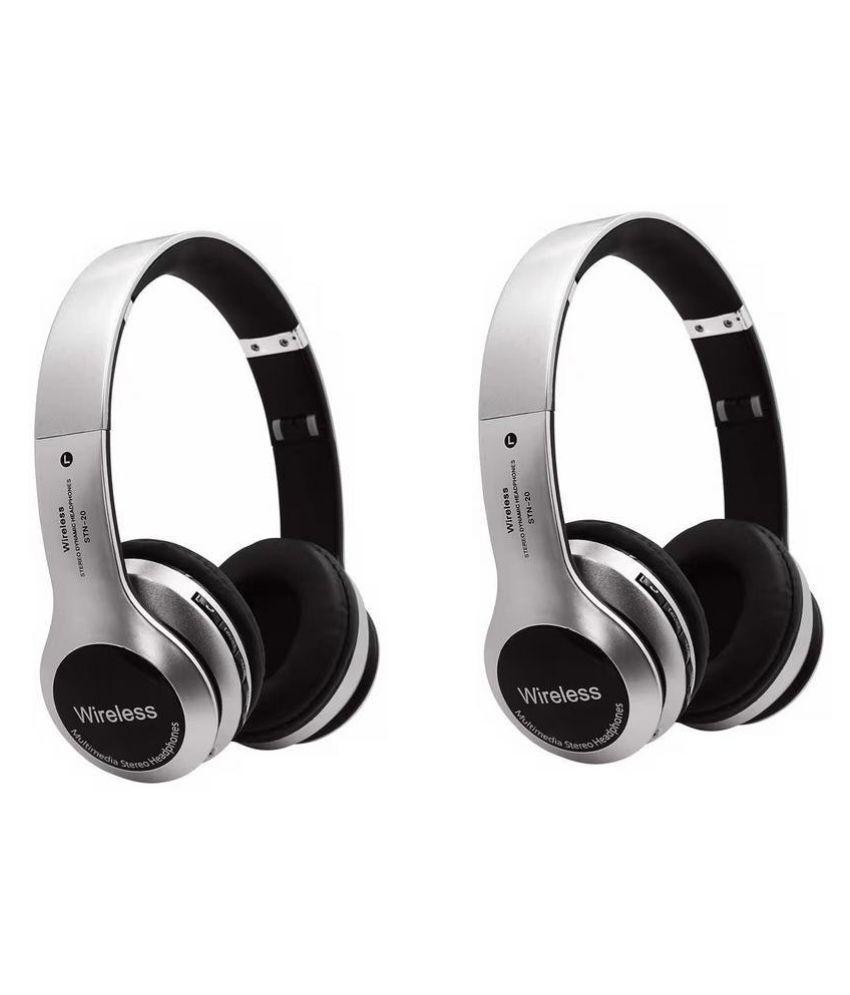 Meckwell B20-B1 combo Wireless Bluetooth Headphone Silver