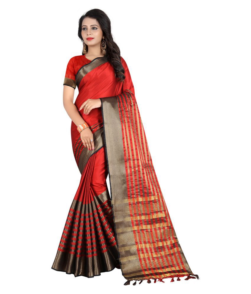 Fashionesta Red and Brown Cotton Saree