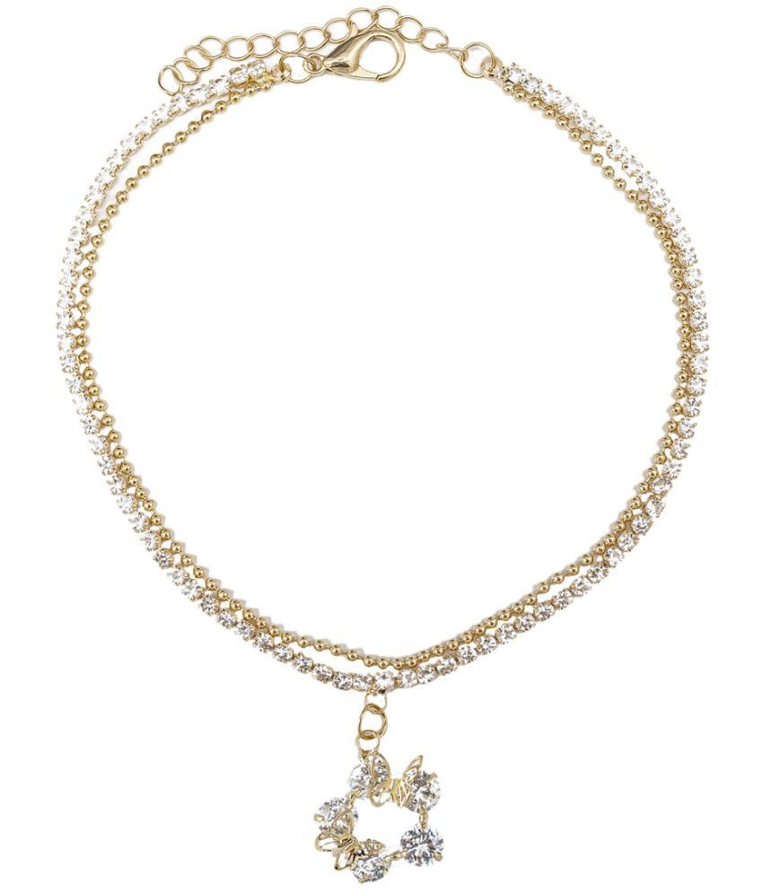 Kiyara Accessories fashion jewellery Western Butterfly American Diamond Anklet in gold plating for women and girls.   Kiyara Accessories fashion jewellery Western Butterfly American Diamond Anklet in gold plating for women and girls.
