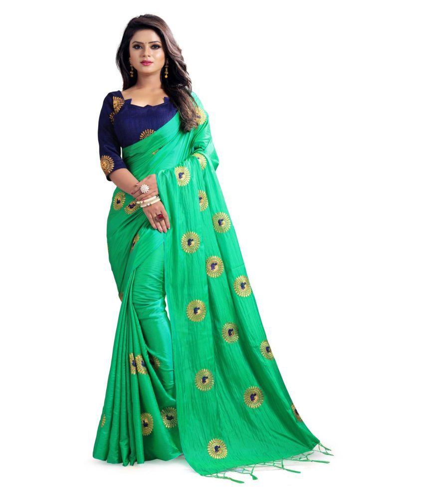 The Mammoth Store Green Paper Silk Saree