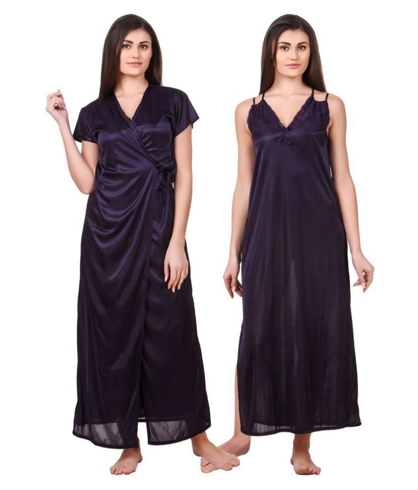 Fasense Satin Nighty & Night Gowns - Navy