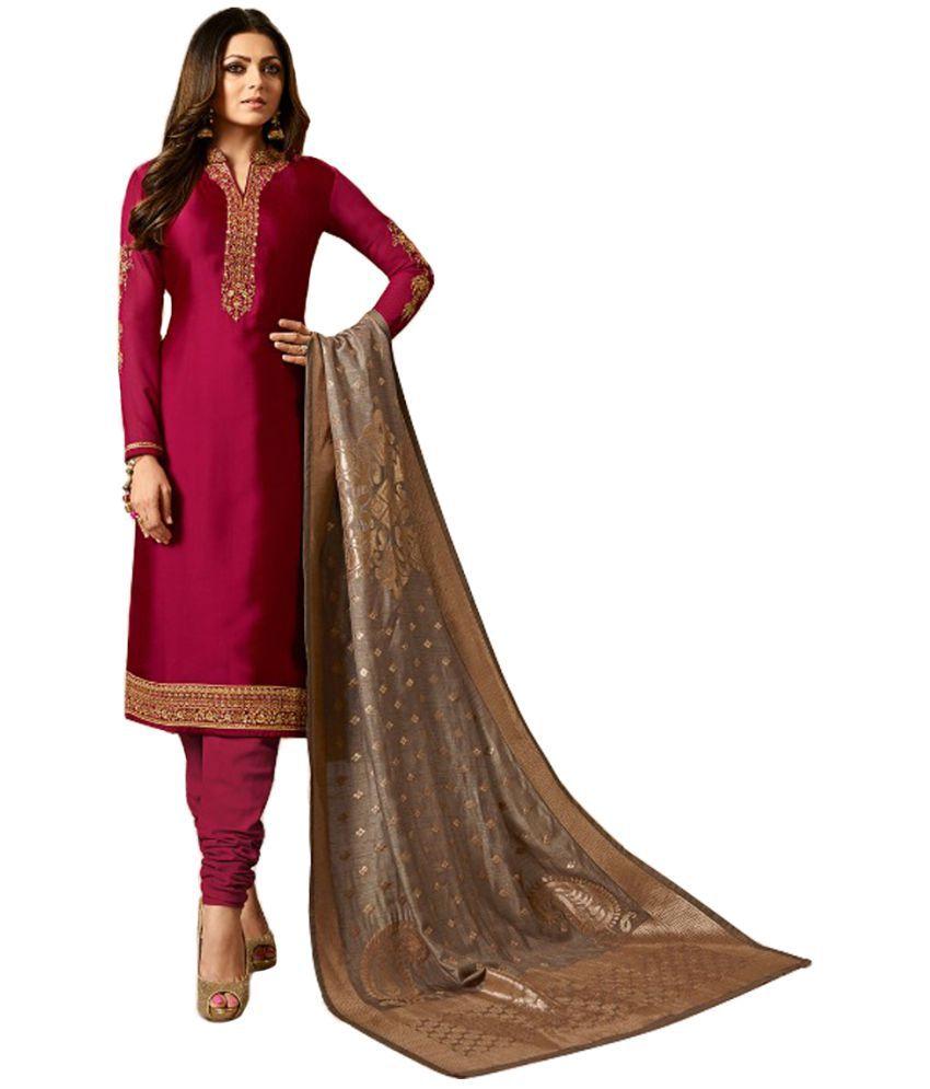 Krishna Tex Maroon Georgette Dress Material