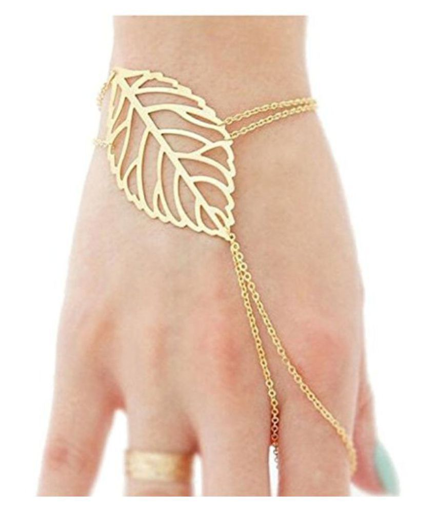 Ziory 1pcs Hollow Leaves Gold Finger Ring Bangle Chain Bracelet Hand Jewellery For Women