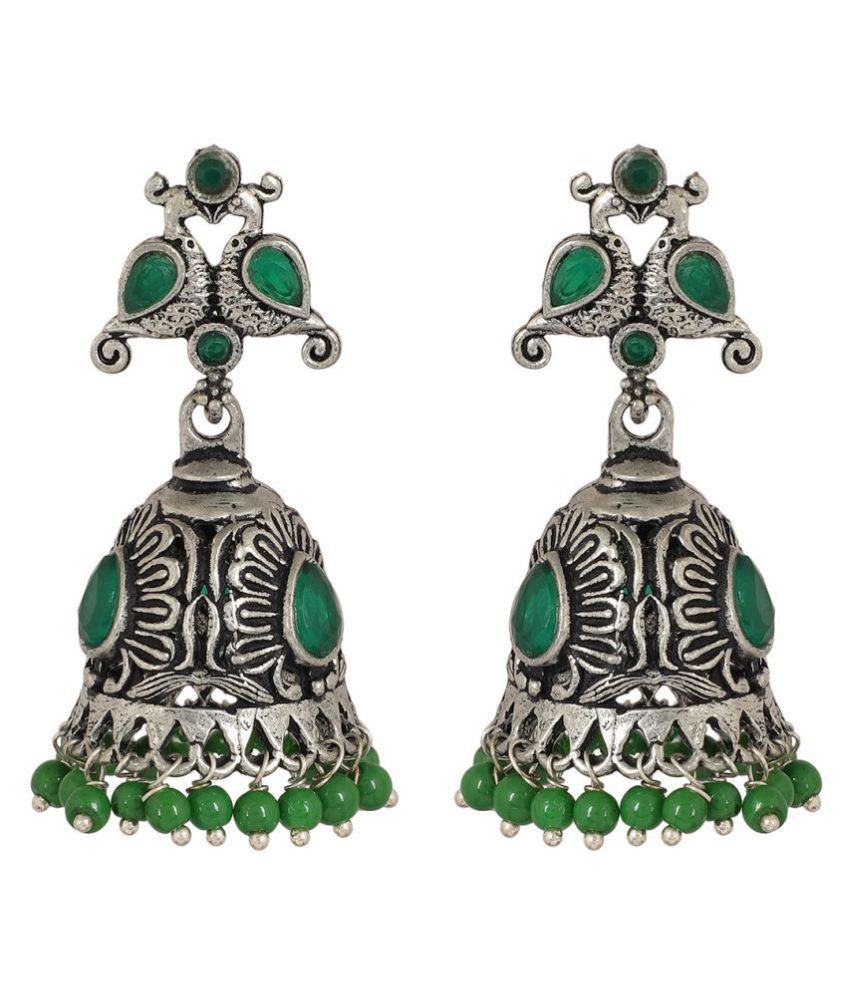 MUCH MORE Peacock Style SilverTone Fashion Earrings Jhumki For Women