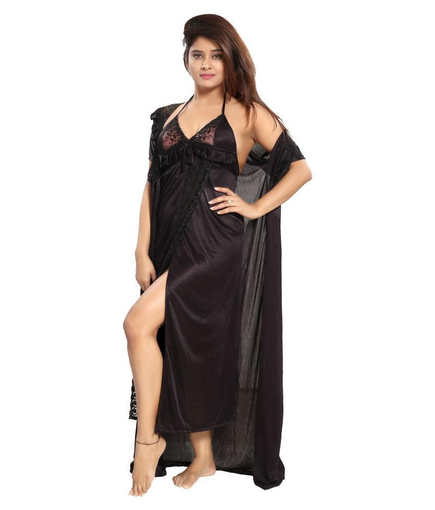 aeda431ea7 Buy Reposey Satin Nightsuit Sets - Black Online at Best Prices in India -  Snapdeal