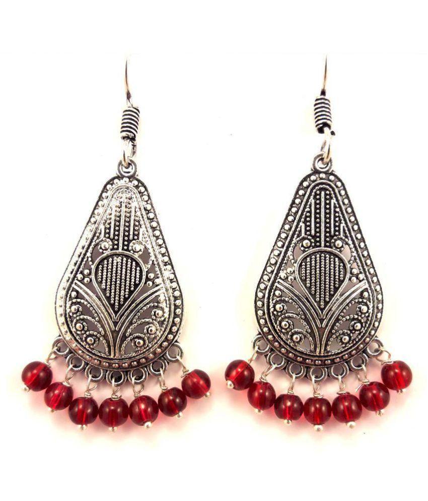 Dineshalini Creations Oxidised German Silver Hoop Maroon Pearl Earrings