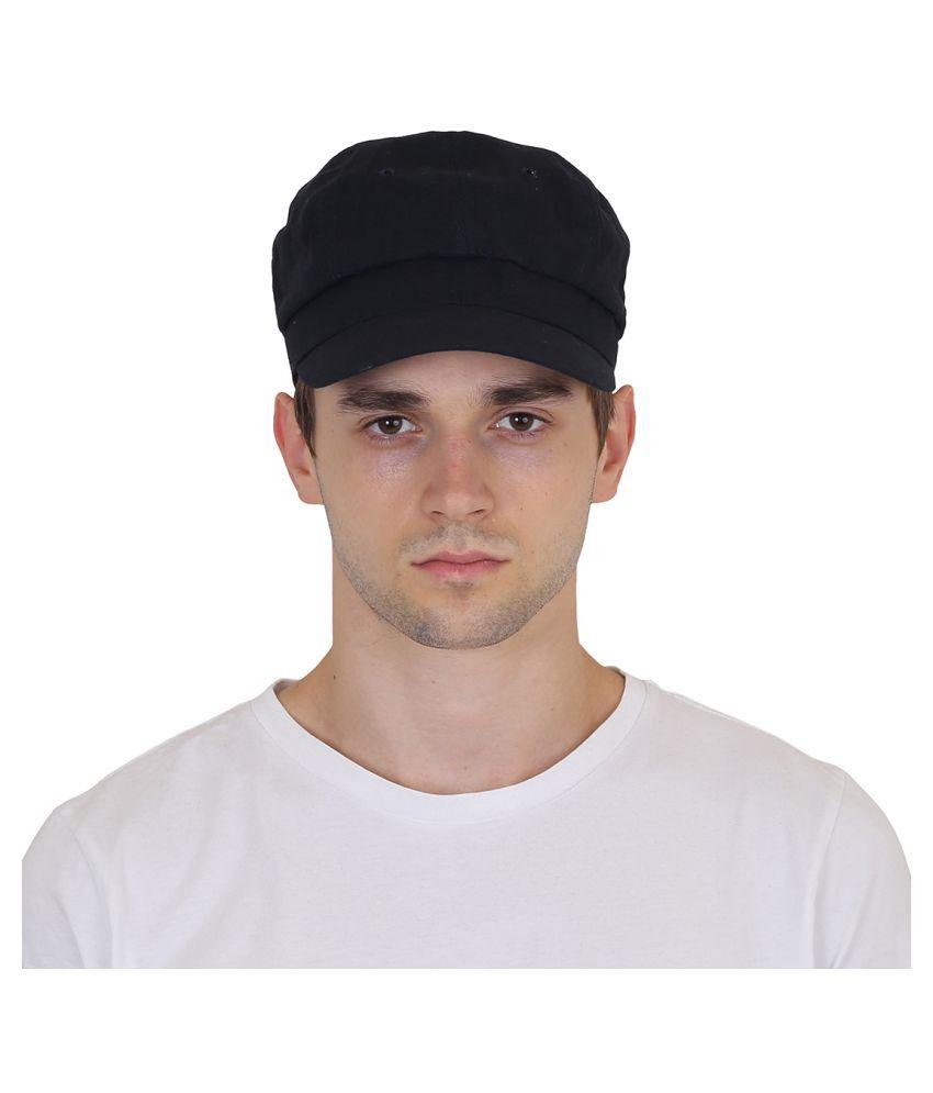 Goodluck Black Plain Cotton Caps