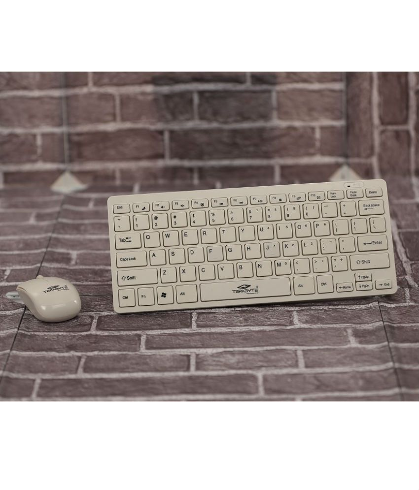 Terabyte TB Wireless White Wireless Keyboard Mouse Combo  USB Dongle is inside Mouse battery cover