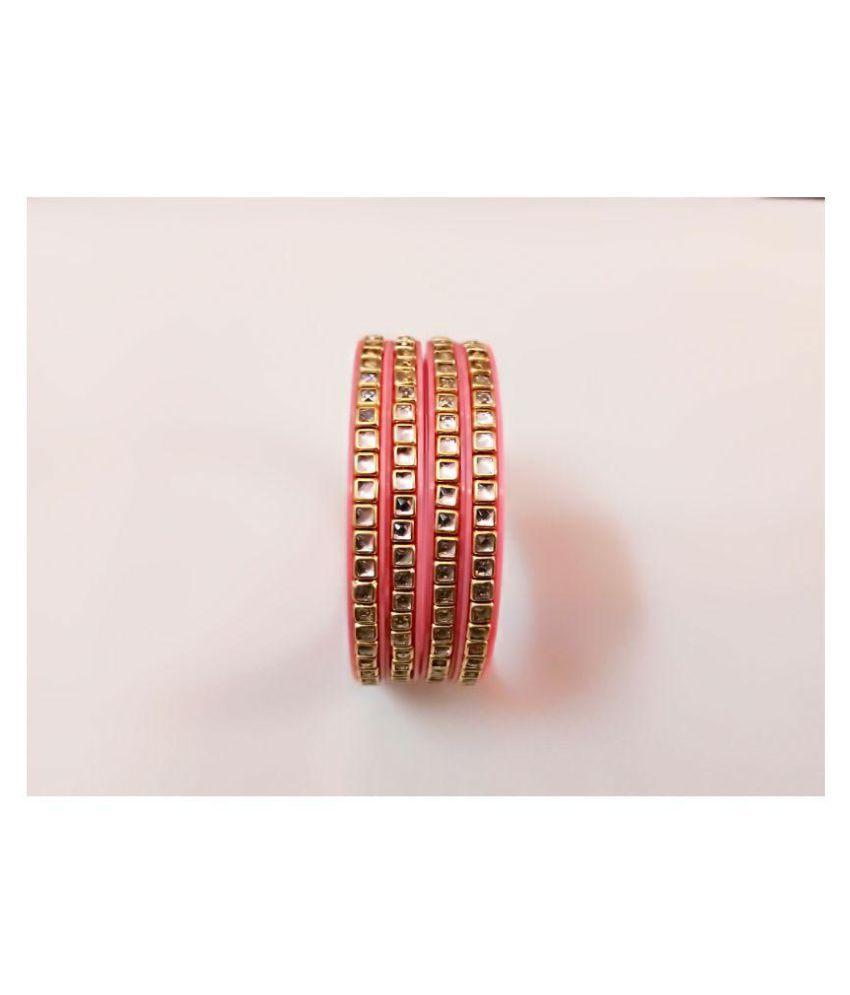 Lajwanti Fancy High Quality Kundan Pink Bangles