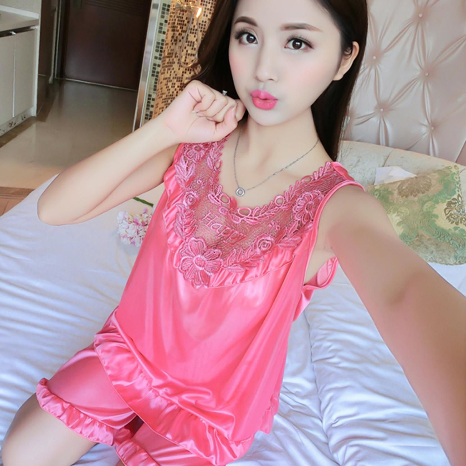 df221d1af4e ... Sexy Women Sleepwear Set Sleeveless Ice-silk Sleepshirts Shorts Loose  Pajamas ...