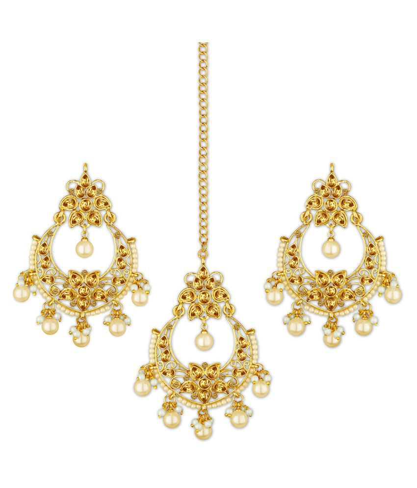 Spargz Traditional Gold Plated Synthetic Stone & Pearl Chandbali Earring With Maangtikka For Women