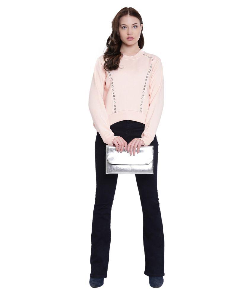 Texco Cotton Fleece Peach Non Hooded Sweatshirt