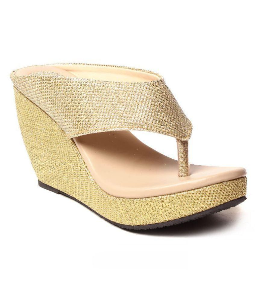 82fb3cfc01 Daj Wari Gold Wedges Heels Price in India- Buy Daj Wari Gold Wedges Heels  Online at Snapdeal
