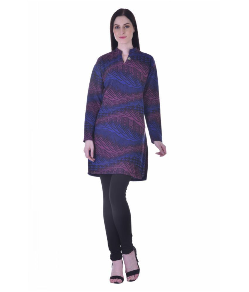 S HOME Multicoloured Woollen Straight Kurti