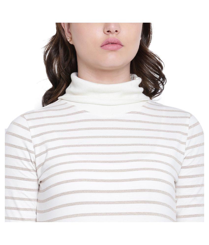 Texco Cotton Off White Non Hooded Sweatshirt