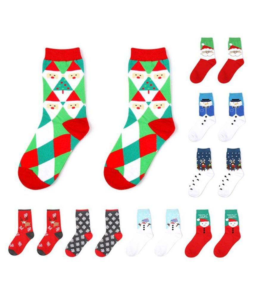 1 Pair Holiday Winter Warm Santa Claus Snowman Socks Christmas Gift Decor