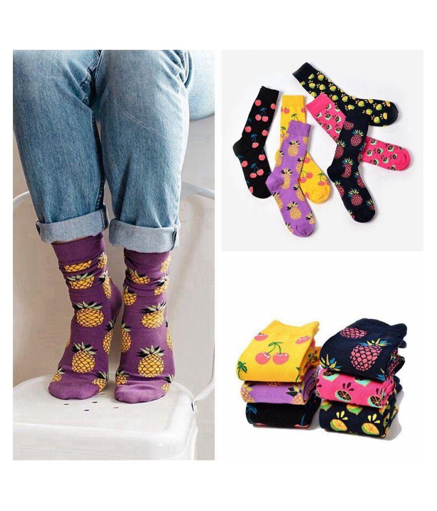 Fashion Men Soft Funny Fruit Pattern Cotton Hosiery Unisex Socks Art Painting Stocking