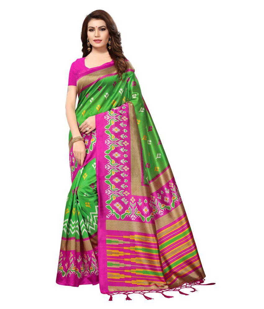 Swaron Green and Pink Art Silk Saree