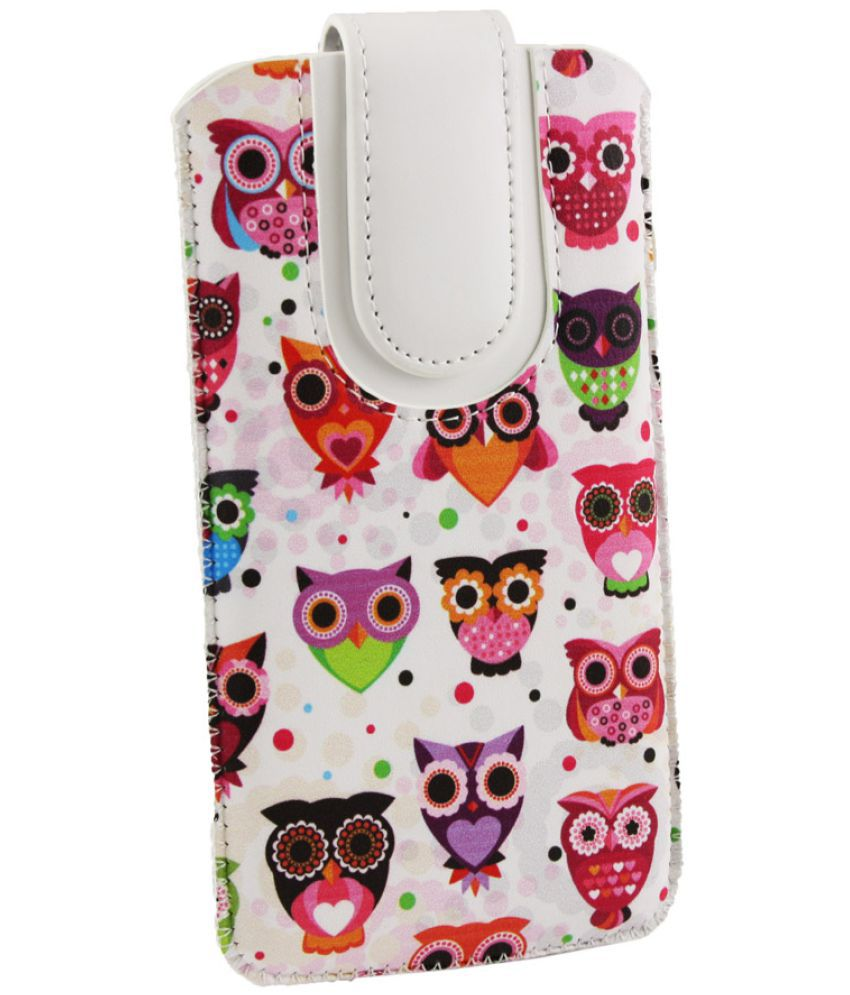Smartron t.phone P Flip Cover by Emartbuy - Multi ( Magnetic Pouch Size 4XL ) Multi Owls