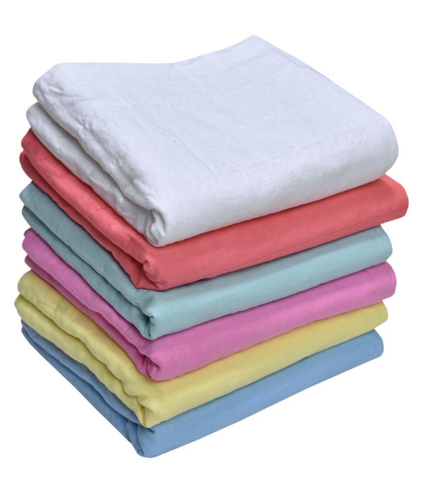 MK HANDICRAFT Yellow Cotton Baby Wrap cum blanket ( 75 cm × 65 cm - 6 or more pcs)