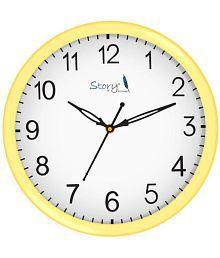 Story@Home Circular Analog Wall Clock Light Beige ( 26 x 26 cms )