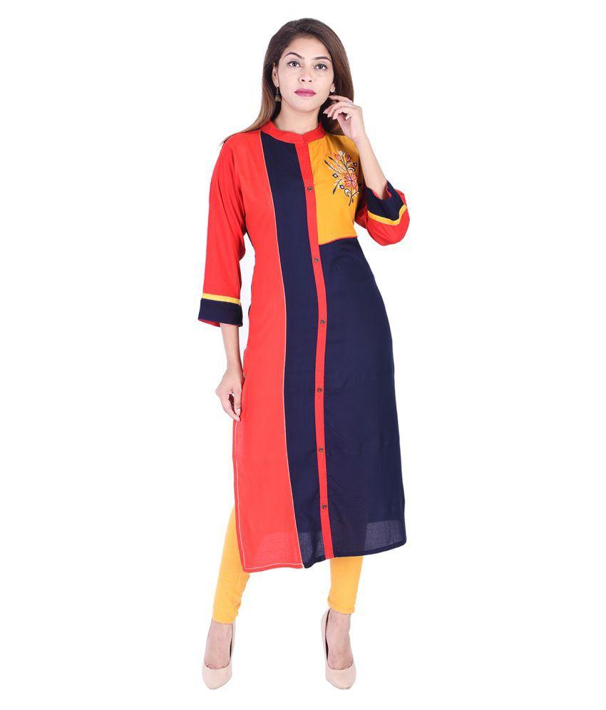 DOEIT Multicoloured Rayon Straight Kurti
