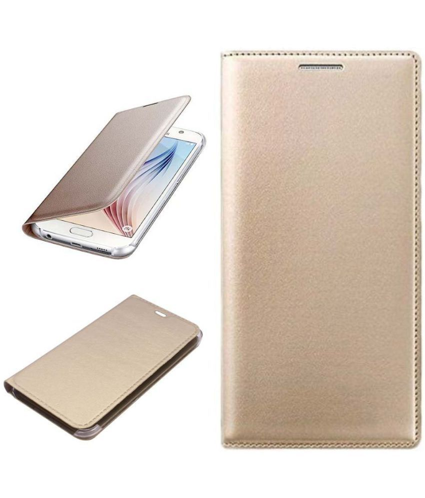 OPPO Neo 7 Flip Cover by Shanice - Golden Leather Flip Cover