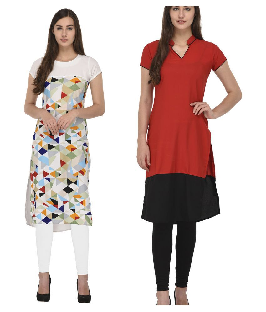 Colors Couture Red Crepe Straight Kurti