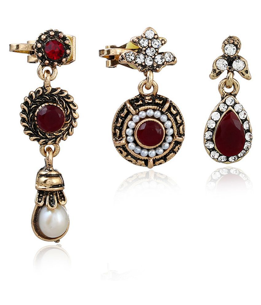 Levaso Fashion Jewelry Womens Earrings Ear Studs Necklace Pendant Alloy 1Set Personality Gifts Red
