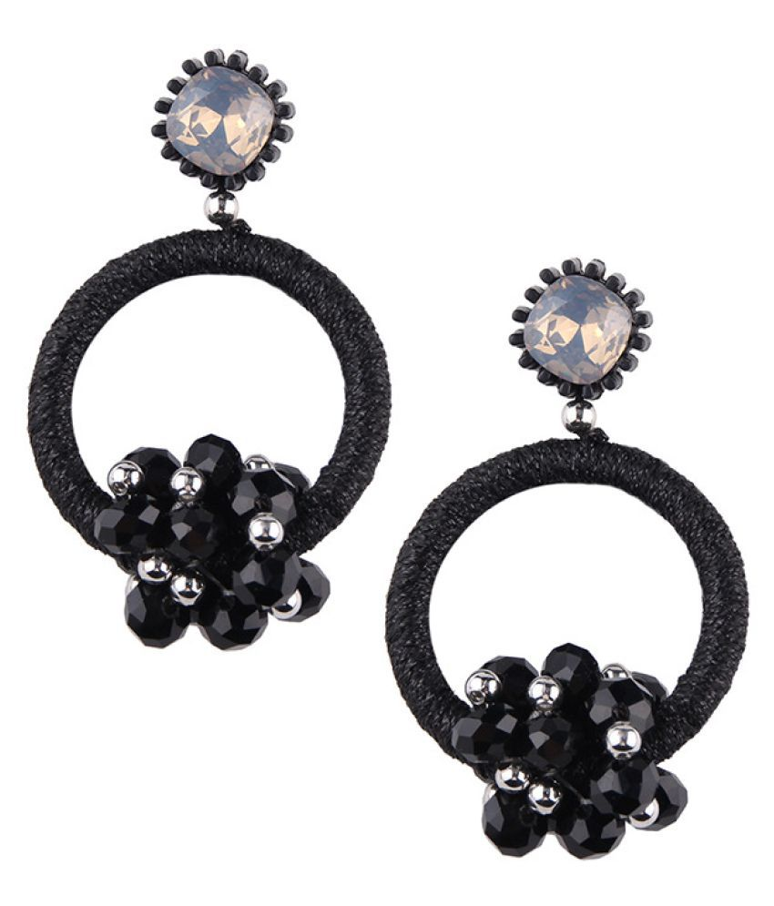 Levaso Fashion Jewelry Womens Earrings Ear Studs Fabric 1Pair Personality Gifts Black