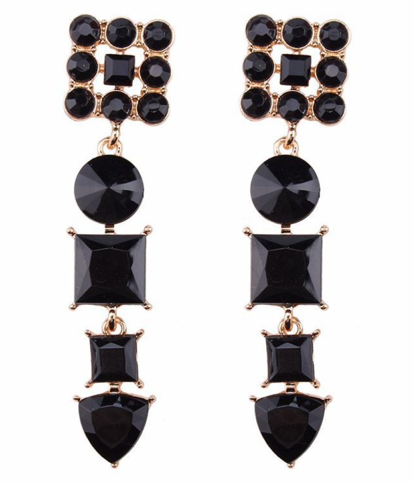 Levaso Fashion Jewelry Womens Earrings Ear Studs Necklace Pendant Crystal Gemstone Geometric 1Set Personality Gifts Black