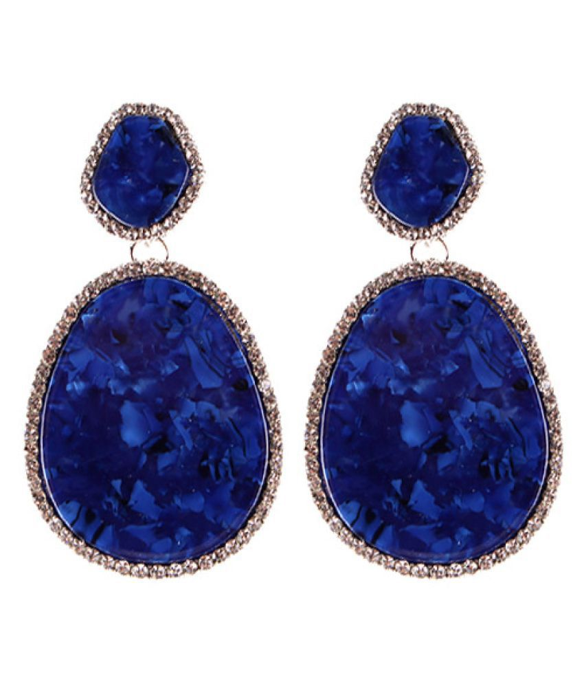 Levaso Fashion Jewelry Womens Earrings Ear Studs Necklace Pendant 1Set Personality Gifts Blue