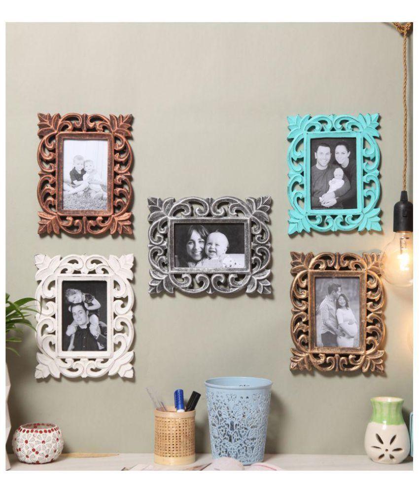 Yatha Wood Multicolour Single Photo Frame - Pack of 5