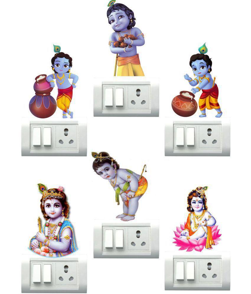 wall dreams Bal Krishna lord Vinyl Switch Board Sticker - Pack of 1