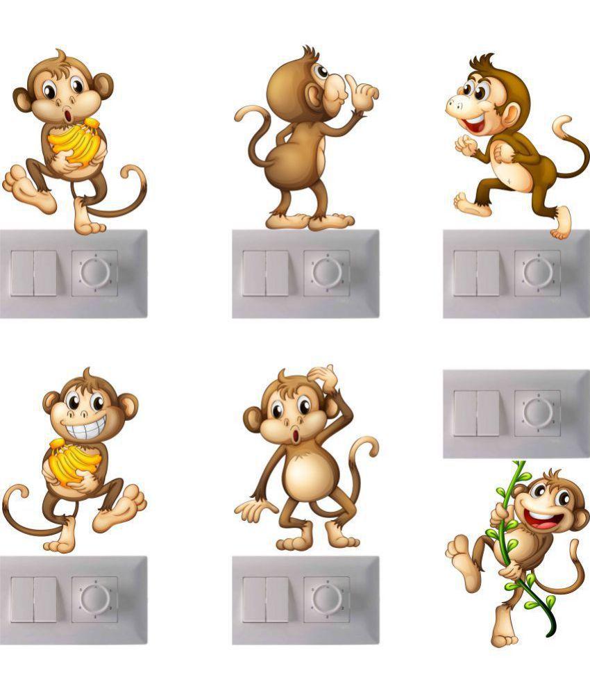 wall dreams Crazy Monkeys Vinyl Switch Board Sticker - Pack of 1