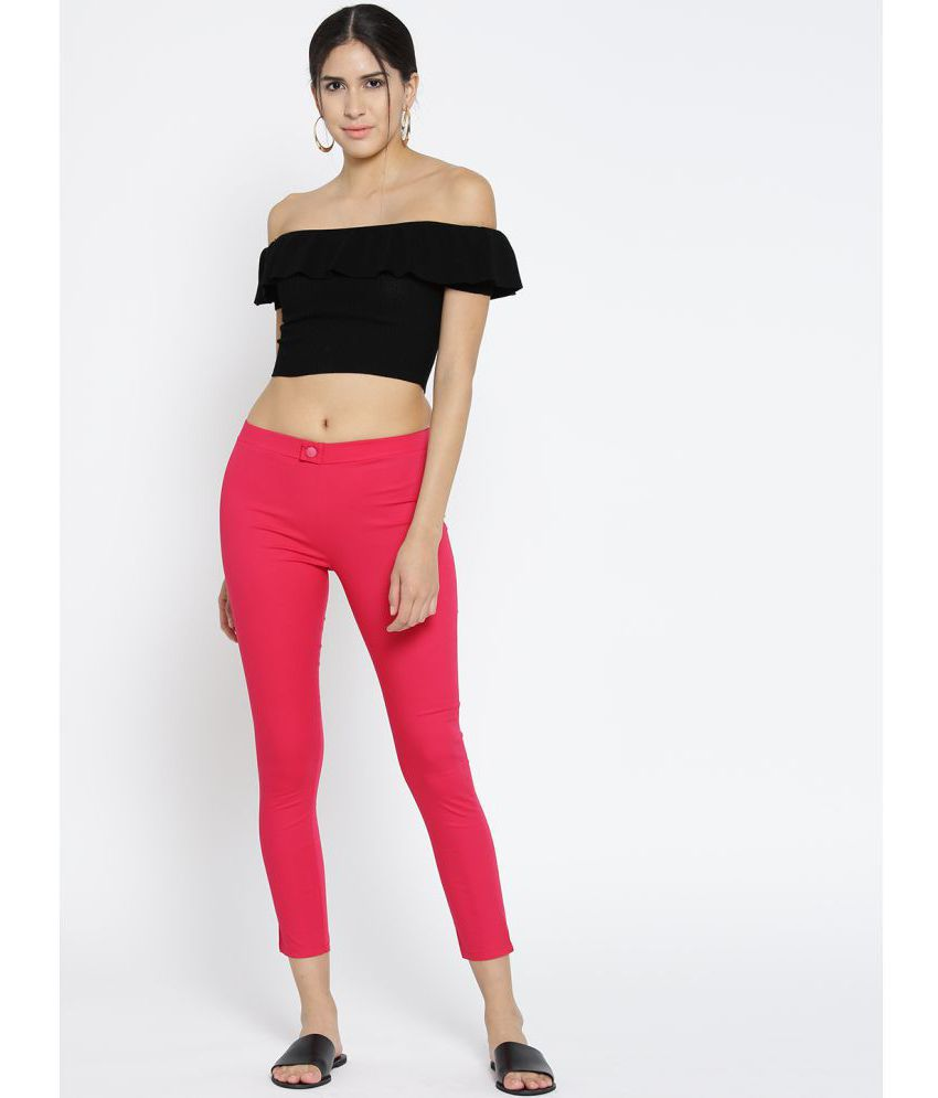 Span Cotton Lycra Jeggings - Pink