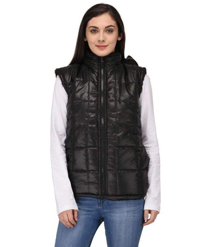 Triraj Polyester Black Hooded Jackets