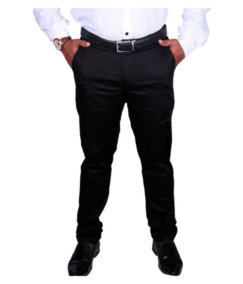 Azar Black Regular -Fit Flat Trousers
